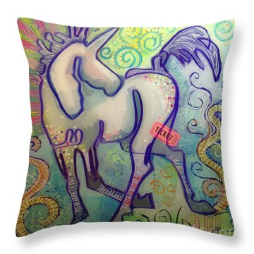 Ticket To Anywhere Throw Pillow by Kimberly Santini