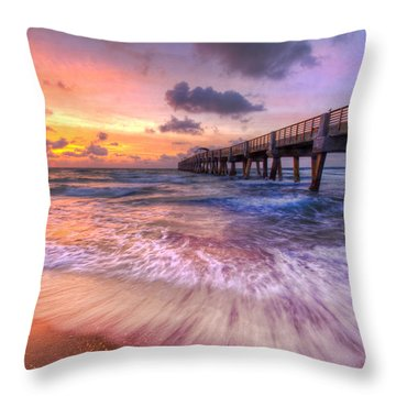 Tidal Lace Throw Pillow by Debra and Dave Vanderlaan