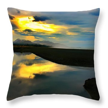 Throw Pillow featuring the photograph Tidal Pond Sunset New Zealand by Amanda Stadther