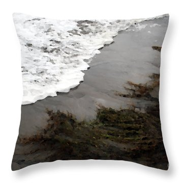 Throw Pillow featuring the photograph Tide Kiss by Jeanette French