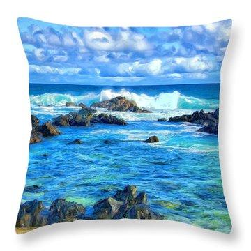 Tide Pool Near Hana Maui Throw Pillow