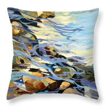 Throw Pillow featuring the painting Tidepool 3 by Rae Andrews