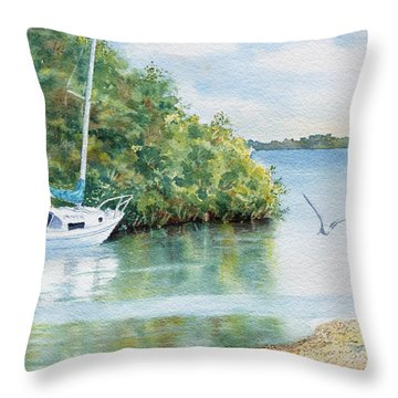 Throw Pillow featuring the painting Tide's Out by Roger Rockefeller