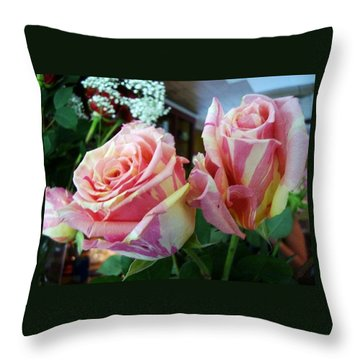 Tie Dye Roses Throw Pillow