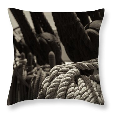 Tied Up Black And White Sepia Throw Pillow