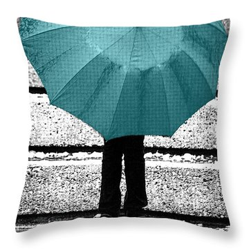 Tiffany Blue Umbrella Throw Pillow by Lisa Knechtel