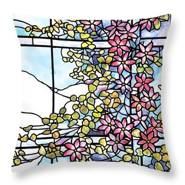 Stained Glass Tiffany Floral Skylight - Fenway Gate Throw Pillow by Donna Walsh