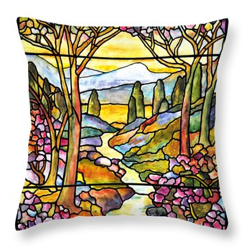 Tiffany Landscape Window Throw Pillow