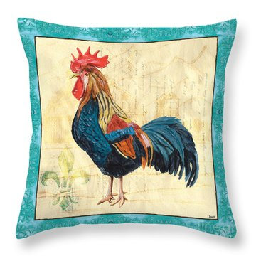 Tiffany Rooster 2 Throw Pillow by Debbie DeWitt