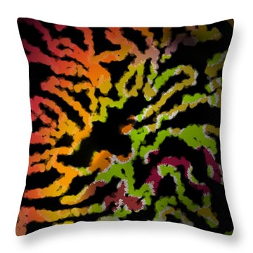Tiger Action Throw Pillow by Christine Fournier