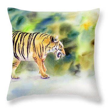 Tiger Throw Pillow by Amy Kirkpatrick