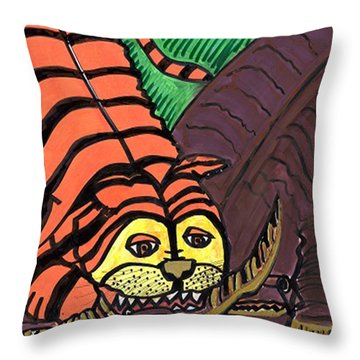 Throw Pillow featuring the drawing Tiger And Buffalo by Don Koester