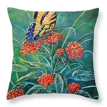 Tiger And Lantana Throw Pillow