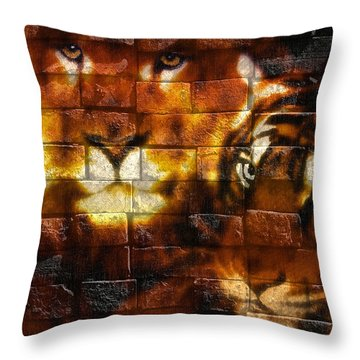 Throw Pillow featuring the photograph Tiger Art 011 by Kevin Chippindall