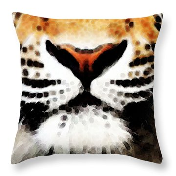 Tiger Art - Burning Bright Throw Pillow by Sharon Cummings