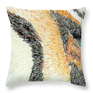 Throw Pillow featuring the drawing Tiger Blue by Stephanie Grant