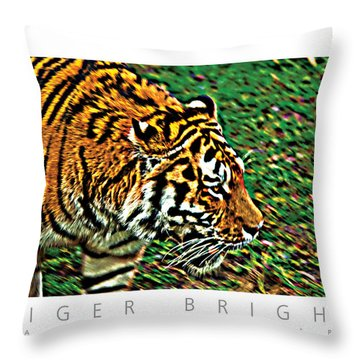 Tiger Bright  Naturally Rare Poster Throw Pillow by David Davies