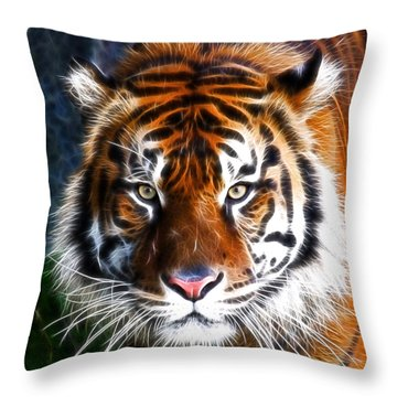Tiger Close Up Throw Pillow by Steve McKinzie