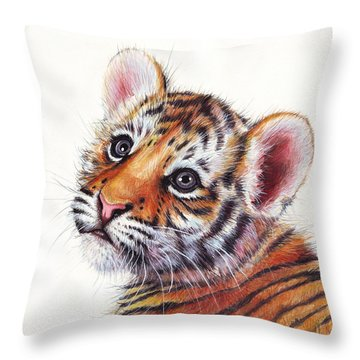 Tiger Cub Watercolor Painting Throw Pillow by Olga Shvartsur