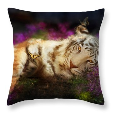 Tiger Dreams Throw Pillow by Aimee Stewart