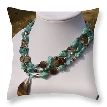 Tiger Eye And Turquoise Triple Strand Necklace 3640 Throw Pillow by Teresa Mucha