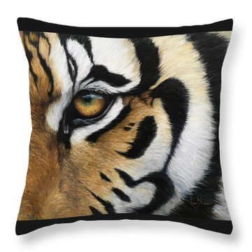 Tiger Eye Throw Pillow by Lucie Bilodeau