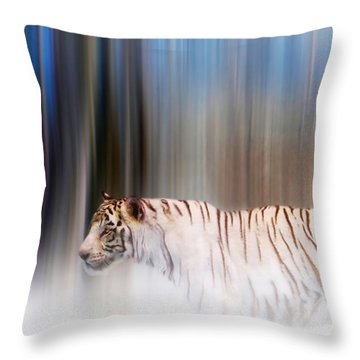 Tiger In The Mist Throw Pillow