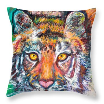 Tiger Lean Throw Pillow by Kendall Kessler