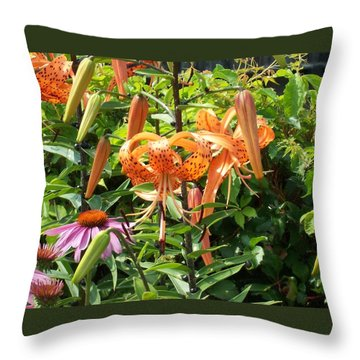 Tiger Lilies Throw Pillow by Catherine Gagne