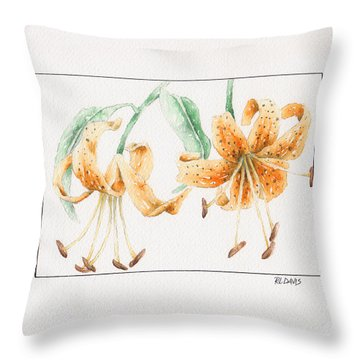 Throw Pillow featuring the painting Tiger Lilies by Rebecca Davis