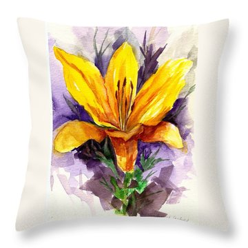 Tiger Lily Throw Pillow by Ellen Canfield