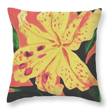 Tiger Lily Throw Pillow by Sophia Schmierer