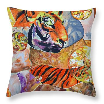 Throw Pillow featuring the painting Tiger Mosaic by Daniel Janda