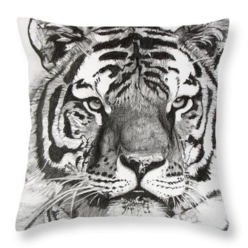 Tiger On Piece Of Paper Throw Pillow by Kevin F Heuman