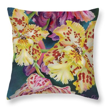 Throw Pillow featuring the painting Tiger Orchid by Jane Girardot