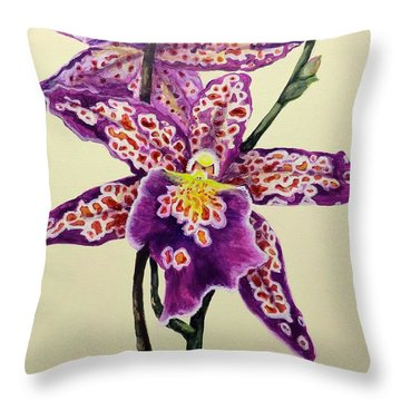 Tiger Orchid Throw Pillow