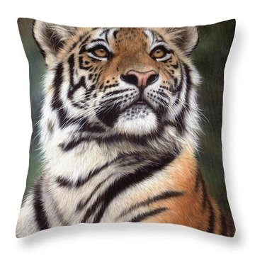 Tiger Painting Throw Pillow by Rachel Stribbling