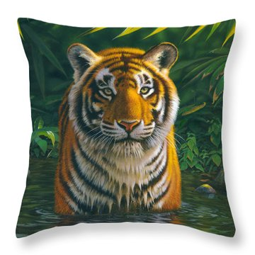 Tiger Pool Throw Pillow