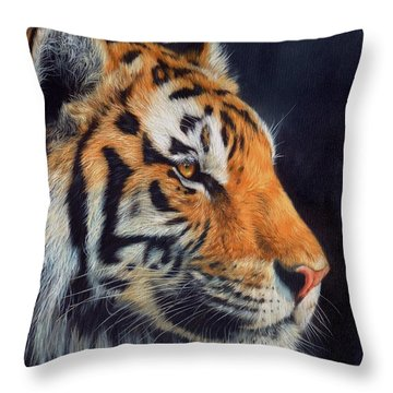 Tiger Profile Throw Pillow by David Stribbling
