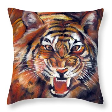 Tiger Roaring Throw Pillow