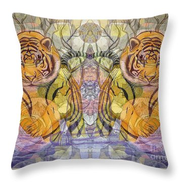 Tiger Spirits In The Garden Of The Buddha Throw Pillow