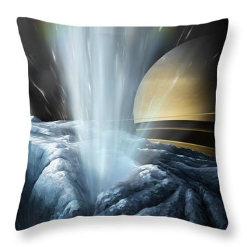 Tiger Stripes The Icy Jets Of Enceladus Throw Pillow