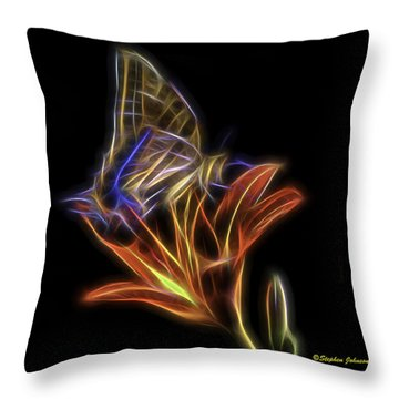 Tiger Swallow Tail And Tiger Lily Glow Throw Pillow