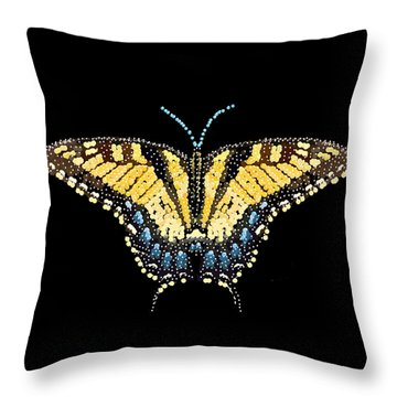 Tiger Swallowtail Butterfly Bedazzled Throw Pillow