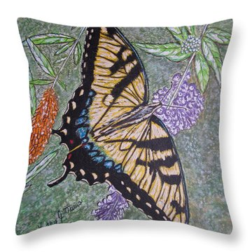 Tiger Swallowtail Butterfly Throw Pillow by Kathy Marrs Chandler