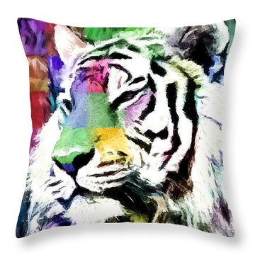 Throw Pillow featuring the painting Tiger - Tigre by Ze  Di