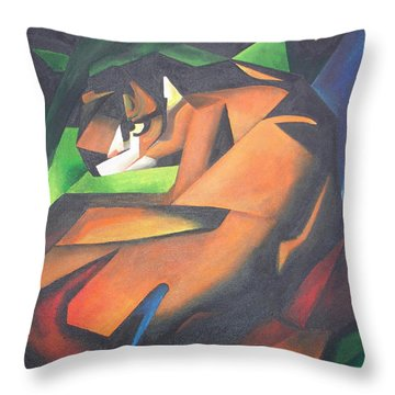 Tiger Throw Pillow by Tracey Harrington-Simpson