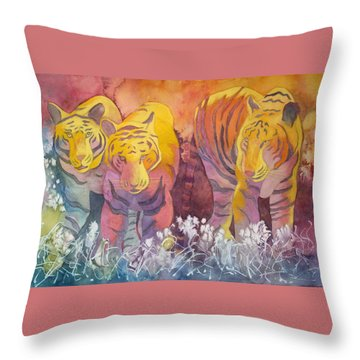 Throw Pillow featuring the painting Tiger Trio by Nancy Jolley