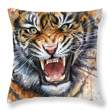 Tiger Watercolor Portrait Throw Pillow by Olga Shvartsur