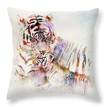 Tiger With Cub Watercolor Throw Pillow by Marian Voicu